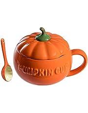 Angoily Söt Pumpa Mugg Keramisk Kaffe Kopp Med Lock Och Sked Halloween Pumpa Kopp Mjölk Sopp Mugg