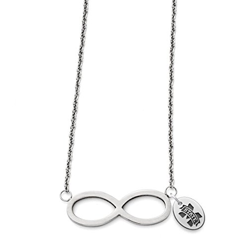 Mississippi State University Bulldogs Stainless Steel Infinity Necklace