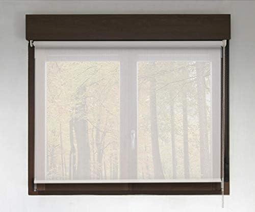Estor Enrollable Screen Premium (Desde 40 hasta 300cm de Ancho - Permite Paso de luz y Ver el Exterior sin Que lo vean). Color Blanco. Medida 84cm x 200cm para Ventanas y Puertas