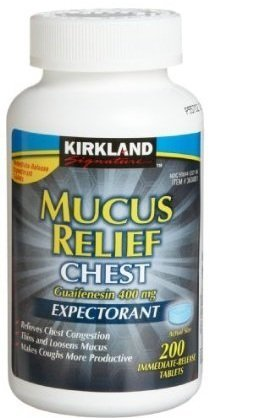 Kirkland Signature Mucus Relief Chest Guaifenesin 400 mg Expectorant - 200 Immediate Release Tablets, Compare to Active Ingredients in Mucinex