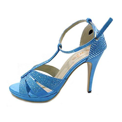 Jakin W Diamante Mesdames Mariage Femmes Haut Talon Taille amp; Bleu Soirée Sandales W Chaussures Prom Party de qFZ4R