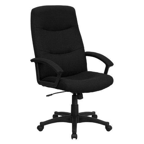 Flash Furniture High Back Black Fabric Executive Swivel Office Chair with Two Line Horizontal Stitch Back and Arms -