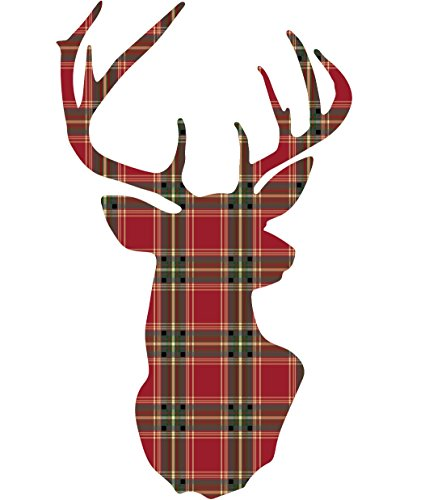 Large Red Plaid Deer Trophy Holiday Fabric Wall Decal