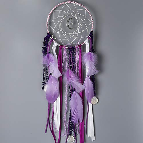 Buvelife Dream Catcher Romantic Purple Lace Dream Catchers Girls Feather Hanging Ornament Home Decor Creative -