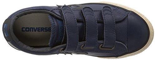 Converse Sp 3V Lea Ox - Zapatillas bajas infantil Azul (Bleu/Gris)