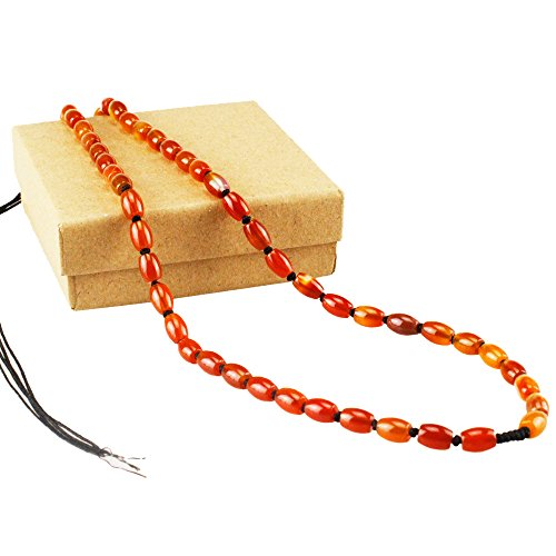 - Melleco Fashion Jewelry Necklace Natural Red Carnelian, Agate Beaded Necklace,22 Inches,7mm Beads