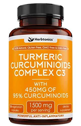 High Strength Tumeric Curcumin Supplement, Arthritis Joint Support, Turmeric with Bioperine (Black Pepper), Turmeric C3 Complex, Joint Pain, Anti-Inflammatory Turmeric Curcumin Capsules, Pain Relief