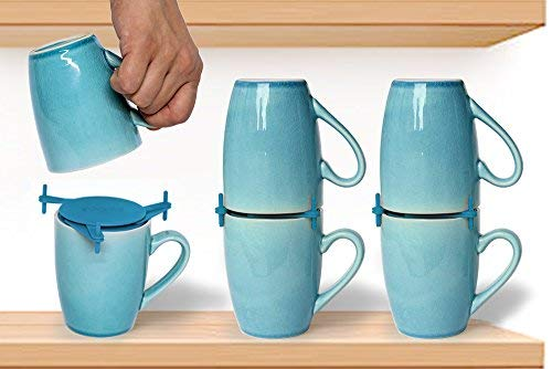 ELYPRO Coffee Mug Organizers and Storage, Kitchen Cabinet Shelf Organizer – Cupboard and Pantry Organization, Expandable Stackable Gadget for Tea Cup and Coffee Mugs, Save Space, Organize, 6pk, Blue