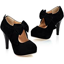 Milesline Fashion Vintage Womens Small Bowtie Platform Pumps Ladies Sexy High Heeled Shoes
