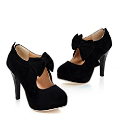 These sweet and stylish platform high heels are a must have! The features include a nubuck faux leather upper with a round closed toe,cute bow with back zipper closure, breathable lining.