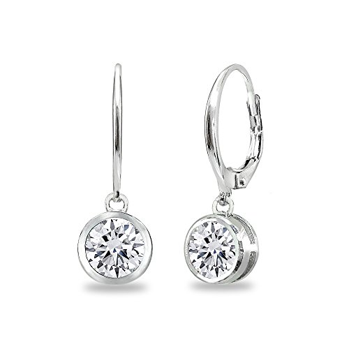 - Sterling Silver Cubic Zirconia 6mm Round Bezel-Set Dangle Leverback Earrings for Women Teen Girls