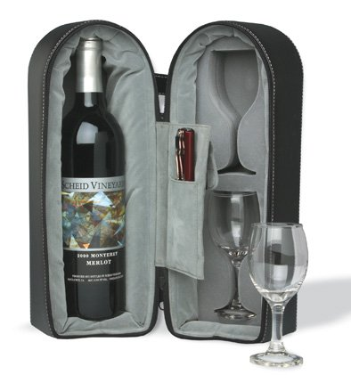 Wine Travel Case with Corkscrew and Stopper zippered soft case - Wine Bottle Tote Bag
