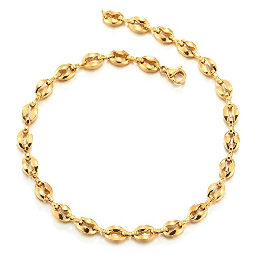 COOLSTEELANDBEYOND Stainless Steel Gold Color Mariner Marine Link Chain Anklet Bracelet for Women Girls by COOLSTEELANDBEYOND