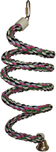 A&E CAGE COMPANY HB552 Happy Beaks Cotton Rope Boing with Bell Bird Toy, 0.75 by 66