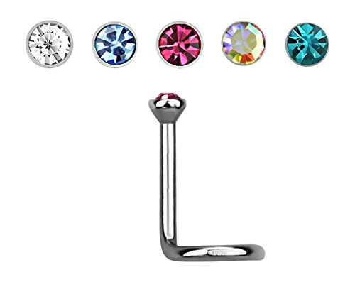 EO Gas Sterilized G23 Titanium 18G Nose Screw Piercing with Bezel Set Crystal Top (Clear)
