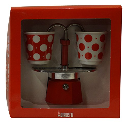 Bialetti: Set Mini Express Colour 2-Cups RED + 2 Bialetti Polka Dot Porcelain Cups [ Italian Import ]