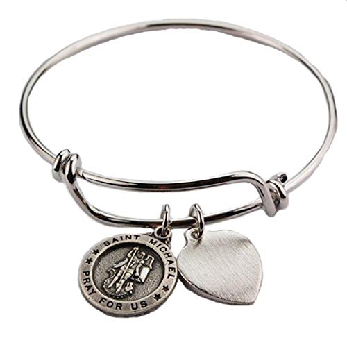 - Womens Catholic Bracelet, Religious Bracelet, Silver, Adult Dangling Patron Saint, Round St. Michael the Archangel Charm Medal with Heart Charm, Pewter Faith Bangle 2 3/4