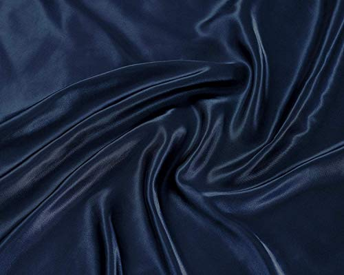 Linen Plus Queen Size 4pc Satin Sheet Set Soft Silk Cozy Solid Navy Blue New