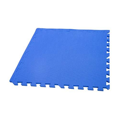 IncStores Eco Soft+ Foam Tiles (15 Tiles, Blue) Interlocking Foam Flooring Mats with Removable Edges (Tile Border Edge)