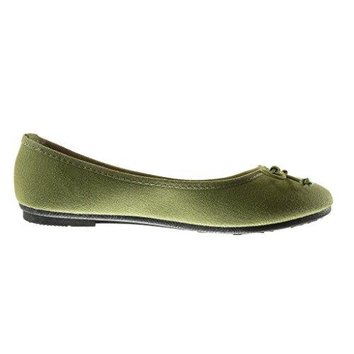 Angkorly - Chaussure Mode Ballerine slip-on femme noeud tréssé Talon plat 1 CM - Vert