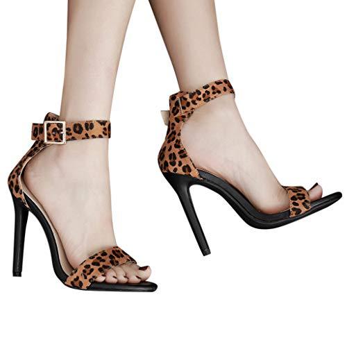 Alti Stiletto Tacchi Con Sexy Donna,donna Da Sandali Cinturino Romane Leopard Zyueer Scarpe Toe Black Open xfAwgt