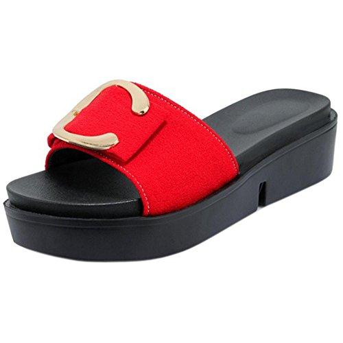 Red Women's Sandals Summer TAOFFEN Mules Fashion T4P4qX