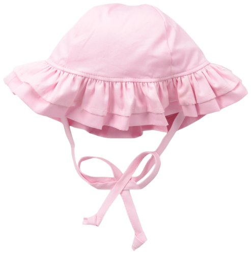 Happy Face Cap (Flap Happy Baby Girls' Upf 50+ Double Ruffle Hats, Pastel Pink, Small)
