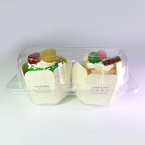 Set of 50 BPA-Free Clear Cupcake Containers (2 Compartment) by OEM Bargain