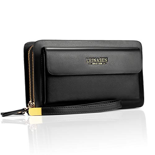 Sllybo Men Clutch Bag Business Handbag Wallet for Men Organizer Zipper Checkbook Wrist Bag (Style 03) Black