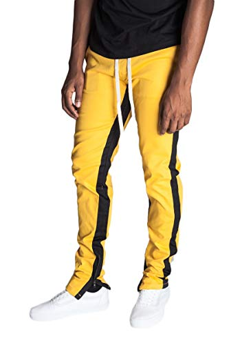 KDNK Men's Tapered Skinny Fit Stretch Drawstring Ankle Zip Striped Track Pants (Small, Yellow/Black Stripe)