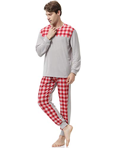 Rouge Col Pyjama Chauds Longue Aibrou Rond Gris Ensemble Coton Manche Pyjamas Homme Hiver PwwxqzUd