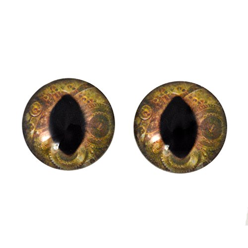 20mm Brown Steampunk Cat Or Dragon Glass Eyes for Doll Making Jewelry Designs Scrapbooking Embellishments Taxidermy Art Sculptures Costumes Cosplay and More ()