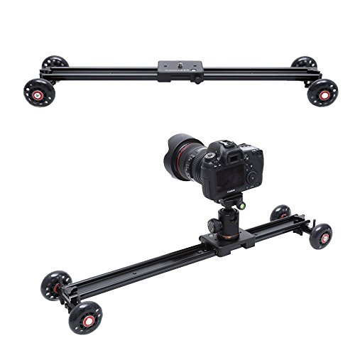 COOCHEER Camera Slider, Aluminum DSLR Dolly Track Rail Perfect for Photography and Video Recording with 1/4'' 3/8'' Screw for YouTube video and short filmmakers (60cm Slider Dolly) by COOCHEER