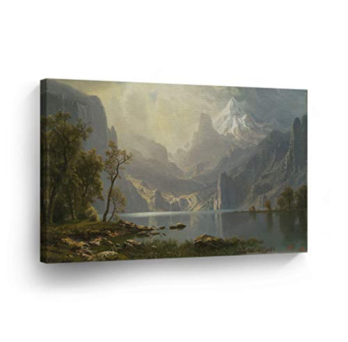 in The Sierras, Lake Tahoe, Albert Bierstadt Classic Art Canvas Print Famous Fine Art Oil Painting Reproduction Canvas Wall Art Home Decor Stretched Ready to Hang-%100 Made in The USA- 19x28 ()