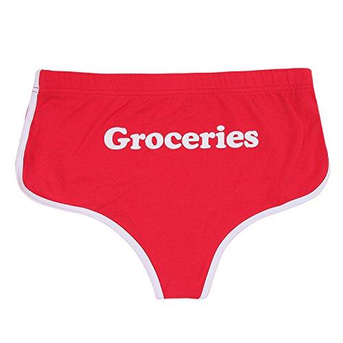 OKANEISAN Boyshort Printed Cotton Sexy Briefs Panties (red) (Boyshort Womens Printed Underwear)