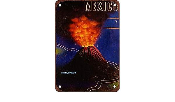 Shimeier Paricutin Volcano Mexico - Letrero de Metal con Aspecto Vintage, 20,3 x 30,5 cm: Amazon.es: Hogar