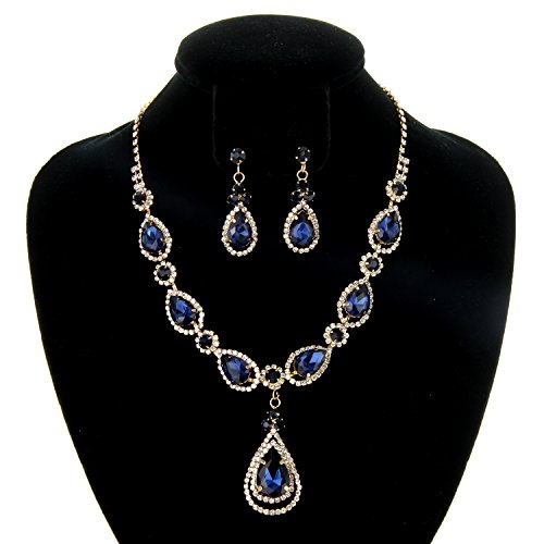 Women's Elegant Crystal Teardrop Statement Necklace Dangle Earring Set in Navy ()