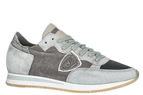 Philippe Model Herenschoenen Mannen Suède Sneakers Schoenen Tropez Grijs