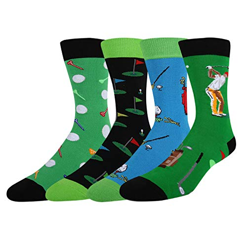 Men's Novelty Crazy Funny Silly Golf Funky Sports Cotton Crew Socks, 4 Pack]()