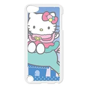HELLO KITTY RIDES UNICORNIO LA LIBRE FAERY funda iPod Touch 5 Funda Caso de la cubierta blanca, funda de plástico caja del teléfono celular