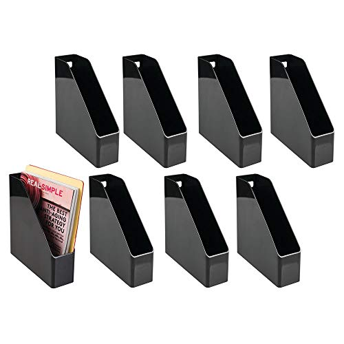 mDesign Plastic File Folder Bin Storage Organizer - Vertical with Handle - Holds Notebooks, Binders, Envelopes, Magazines - Container for Home Office and Work Desktops - 8 Pack - Black ()