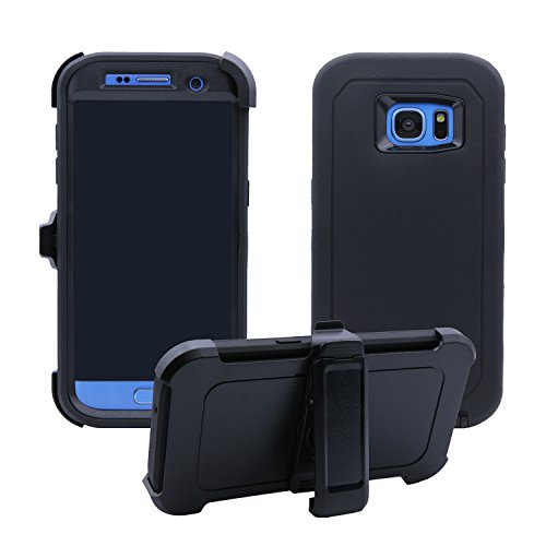 Samsung Galaxy S7 Edge Cover | Holster Case | Full Body Military Grade Edge-to-Edge Protection with carrying belt clip | Drop Proof Shockproof Dustproof | Black / Black