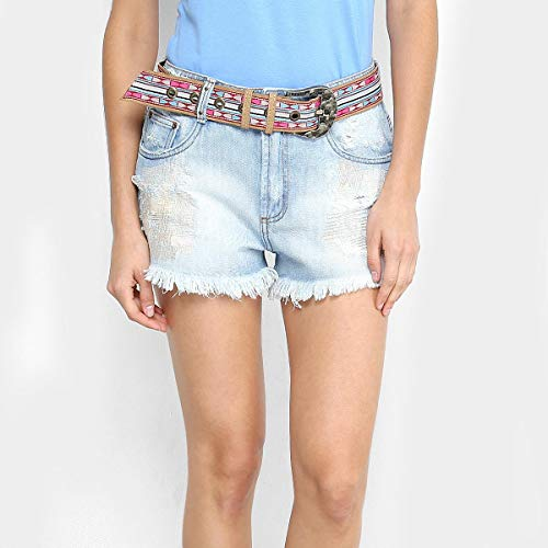 Short Jeans Comfort High Lança Perfume Destroyed Feminino - Azul - 40