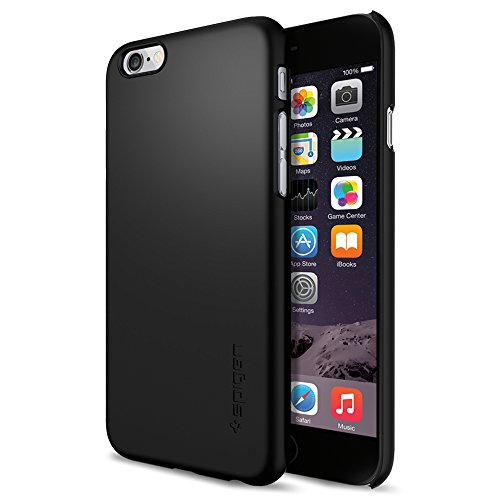 Spigen Thin Fit iPhone 6 Case with SF Coated Non Slip Matte Surface for Excellent Grip for iPhone 6S / iPhone 6 - Smooth Black