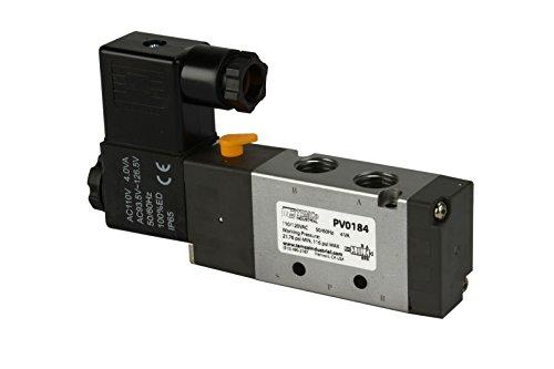 110V AC Solenoid Air Pneumatic Control Pilot Valve 5 Port 4 Way 2 Position 1/4