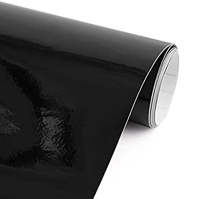 uxcell Gloss Black Bubble Free Self Adhesive Car Vinyl Film Wrap Sticker Decal 152cm x 60cm: Automotive