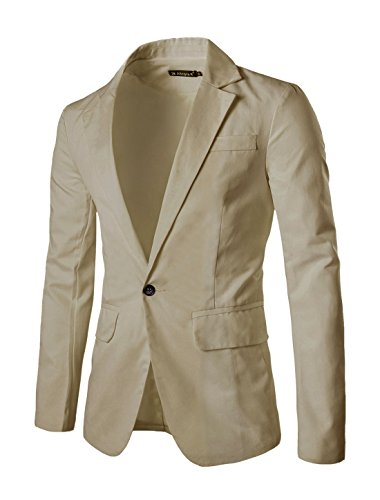 uxcell Men Fully Lined Two Flap Pockets Casual Autumn Blazer Beige S (US 36)