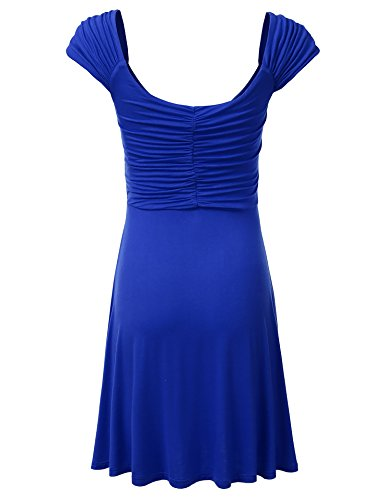 royal DRESSIS Flowy Wrap V Dress Ruched Awdsd0742 Cap Neck Sleeve Womens qSfOvqHP