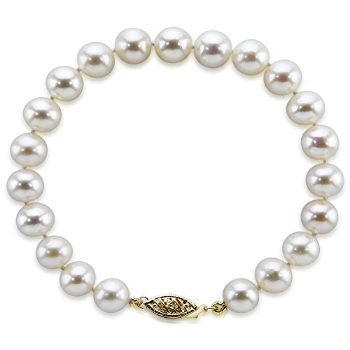 14k Yellow Gold Pearl Bracelet - 14K Yellow Gold 6.5-7.0mm White Freshwater Cultured Pearl Bracelet 6.5