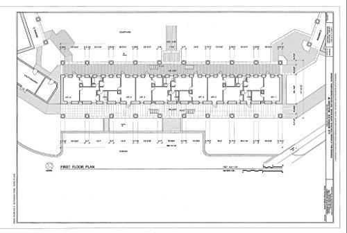 Historic Pictoric Structural Drawing HABS LA,17-BATRO,8B- (Sheet 2 of 7) - U.S. Barracks, Building B, Riverside Mall at Spanish Town Road, Baton Rouge, East Baton Rouge Parish, LA 66in x ()